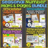 Number Mats & Differentiated Counting Pages Bundle Spring, Summer, Winter, Fall