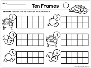 Counting Numbers Using Ten Frames - Set 1