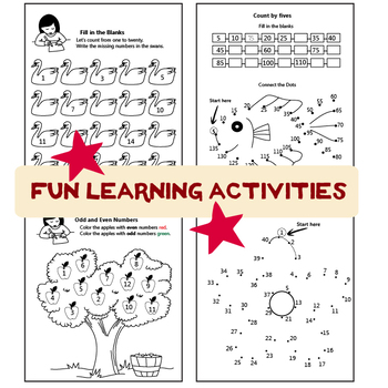 Counting Numbers from 1 to 1000 (Printable Worksheets)