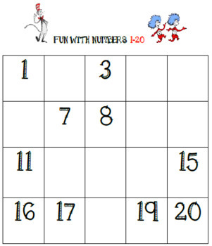 Counting Numbers in Order Math Center 1 - 120 ( Cat In the Hat Edition )