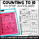 Counting -  Numbers to 10 -  No-Prep Worksheets OR Work Ma