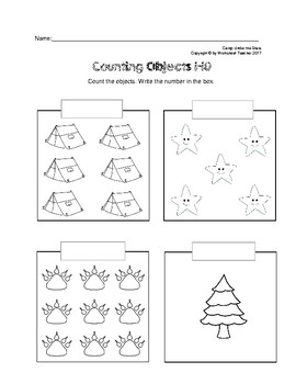 Counting Objects 1-10 Camp Under the Stars Worksheets