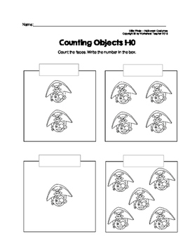 Counting Objects 1-10 Halloween Costumes Worksheets