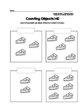 Counting Objects 1-10 Thanksgiving Dinner Worksheets