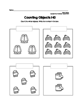 Counting Objects 1-10 Winter Clothes Worksheets