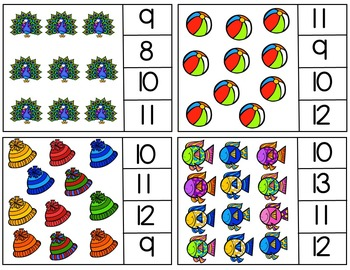 Counting Objects Clip Cards (Numbers 1-20)
