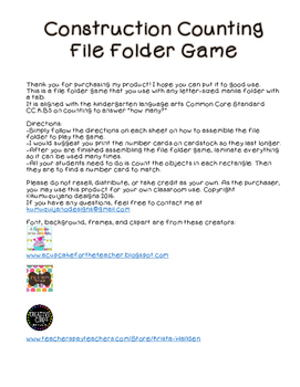 Counting Objects File Folder Game