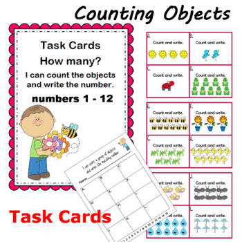Counting Objects Task Cards 0-20