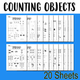 Counting Objects to 10 Worksheets Counting Objects 1-10 Math 20 Sheets B&W