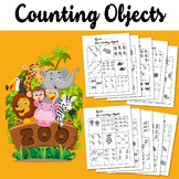 Counting Objects to 10 Worksheets Math Counting Objects Zoo Themed Black & White