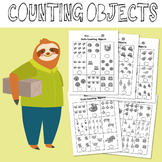 Counting Objects to 10 Worksheets Math Sloth Themed Black & White