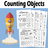 Counting Objects to 10 Worksheets Math Space Themed Black & White