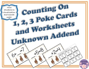 Counting On 1, 2, 3  Poke Cards and Worksheets (Unknown Addend)