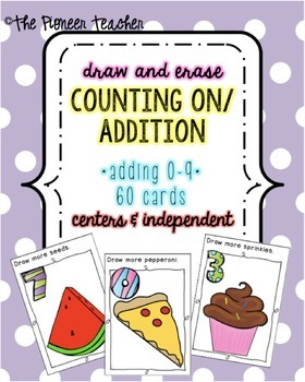 Counting On/Addition Draw And Erase Cards