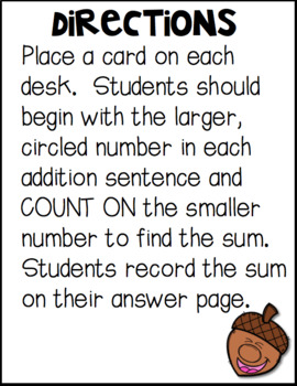 Counting On Addition Scoot