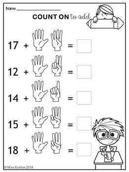 math worksheet : counting on addition worksheets by miss eunice  tpt : Counting On Addition Worksheets