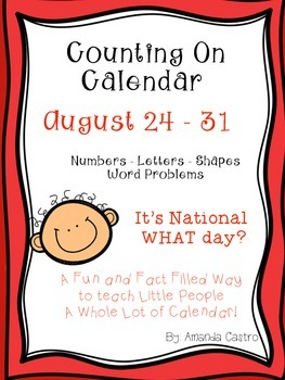 Counting On Calendar August - Morning Work That Matters