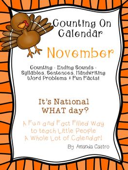 Counting On Calendar - Morning Work for November
