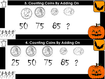 Counting On Coin Task Cards (30 Cards) (Halloween Theme)