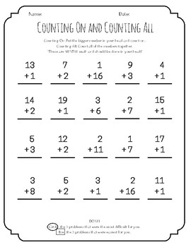 Counting On/Counting All - Addition Strategy Practice