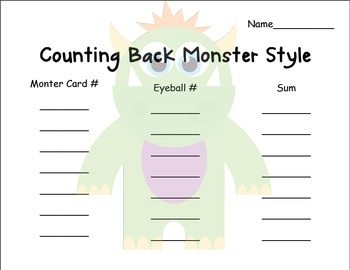 Counting On & Counting Back Monster Style (common core 1.OA.5)