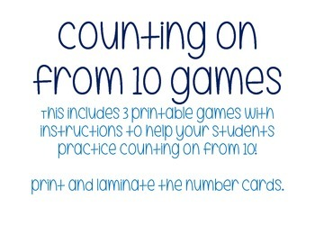 Counting On From 10: * THREE GAMES!