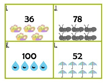 Counting On From a Given Number Task Cards 0-100