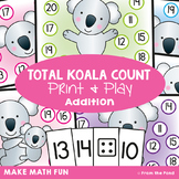 Counting-On Addition Game Math Center - Total Koala Climb