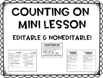 Counting On Mini Lesson (Note taking page, vocabulary card, mini worksheet)