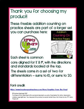 Counting On Practice Pages Free Sample Set