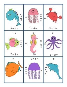 Counting On Sea Creatures Puzzle 1.OA.6