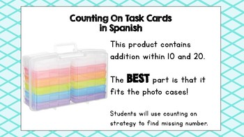 Counting On Task Cards in Spanish