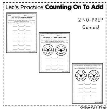 Counting On To Add - Differentiated Worksheets and NO-PREP Games