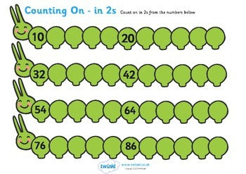 Counting On Worksheets Caterpillar (in 2s)
