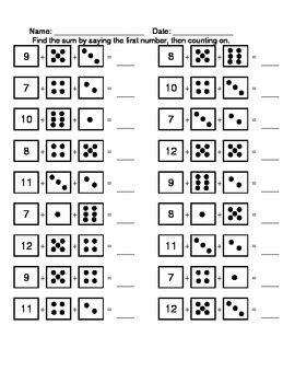 Counting On and Counting Back; Adding and Subtracting with Dice
