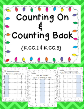Counting On and Counting Back Holiday Printables; CCLS Aligned; Kindergarten