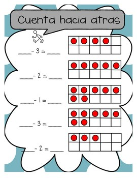 Counting On and Counting Back with Ten Frame SPANISH