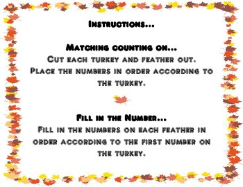 Counting On and Fill in the Number Turkey Feathers