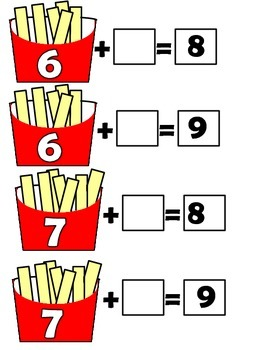 Counting On and Missing Addends Addition Center (French Fry Flash)