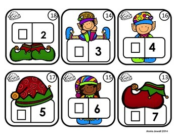 Christmas Counting Task Cards for Kindergarten and 1st Grade