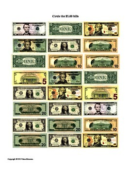 Counting One Dollar Bills Money Math Packet (FULL)