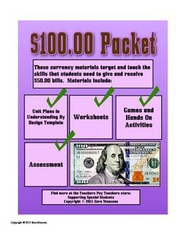 Counting One Hundred Dollar Bills Money Math Packet
