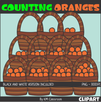 Counting Oranges Basket ClipArt