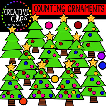Counting Ornaments: Christmas Clipart {Creative Clips Clipart}