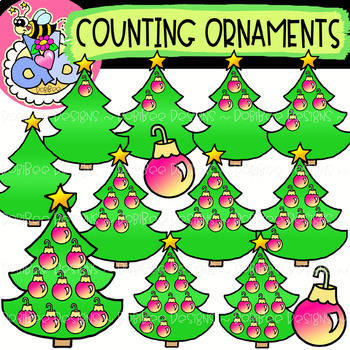 Counting Ornaments: Christmas Clipart {DobiBee Designs}