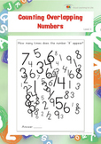 Counting Overlapping Numbers (Visual Perception Worksheets)