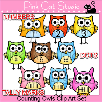 Owl Clip Art - Counting Owls Set - Numbers, Tally and Dots - Commercial Use