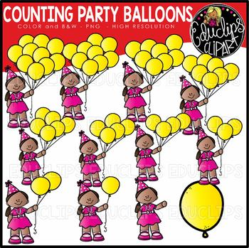 Counting Party Balloons Clipart Set {Educlips Clipart}