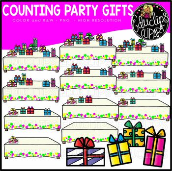 Counting Party Gifts Clipart Set {Educlips Clipart}