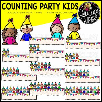 Counting Party Kids Clipart Set {Educlips Clipart}